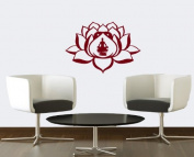Hausewares Vinyl Decal Lotus Flower With Man in Yoga Pose Meditation Wall Art Decor Removable Stylish Sticker Mural Unique Design for Room