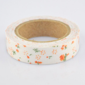 Lychee Craft Orange Floral Fabric Washi Tape Decorative DIY Tape