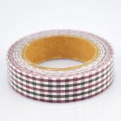 Lychee Craft Dark Red Grid Fabric Washi Tape Decorative DIY Tape