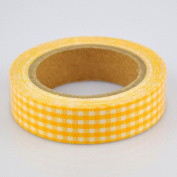 Lychee Craft Yellow Grid Fabric Washi Tape Decorative DIY Tape