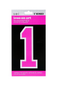Sew Easy Industries 1-Sheet Number Transfer, 13cm by 7.6cm , Number 1, Neon Pink