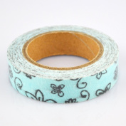Lychee Craft Black Floral Style White Fabric Washi Tape Decorative DIY Tape
