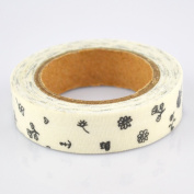 Lychee Craft Black Flowers Fabric Washi Tape Decorative DIY Tape