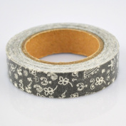Lychee Craft White Floral Style Black Fabric Washi Tape Decorative DIY Tape