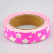 Lychee Craft White Stars Rose Red Fabric Washi Tape Decorative DIY Tape