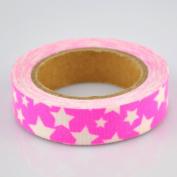 Lychee Craft White Stars Rose Red Fabric Washi Tape Decorative DIY Tape
