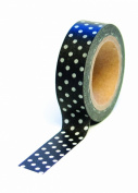 Dress My Cupcake Washi Decorative Tape for Gifts/Favours, Polka Dot, Black