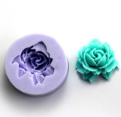 Wholeport 1-Hole Blooming Floral Resin Mould Clay Moulds Handmade Resin Mould Polymer Clay Mould
