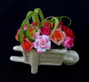 3.8cm Tall Handmade Miniature 15 Colourful Roses in Ceramic Garden Cart Pot