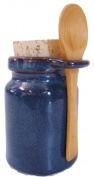 Ceramic Salt Jar - Neti Pot Accessory - Blue w/spoon