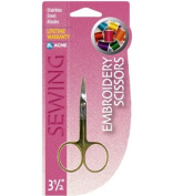 Acme 8.9cm Embroidery Scissors with Curved Tip Gold Plated