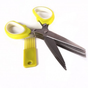 Generic Office Cut Shredding Paper Scissors Stainless Steel 5 Blade Sharp Kitchen Tool