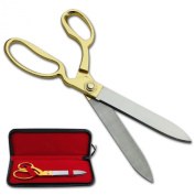 27cm Gold Plated Handles Ceremonial Ribbon Cutting Scissors with Case