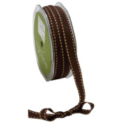 May Arts 1.3cm Wide Ribbon, Brown Grosgrain with Antique Gold Stitches
