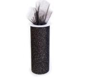 Glitter Black 15cm X 30 Ft (10 Yards) Tulle 100% Nylon