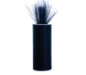 Black 15cm X 75 Ft (25 Yards) Tulle 100% Nylon