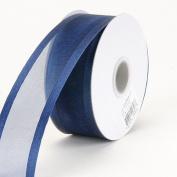 Navy Blue Organza Ribbon Two Striped Satin Edge 1cm 25 Yards