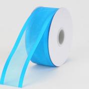 Turquoise Organza Ribbon Two Striped Satin Edge 2.2cm 25 Yards