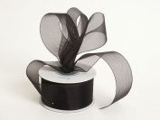 Sheer Organza Ribbon 2.5cm - 1.3cm 25 Yards Black, 30 more Colours