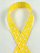 Schiff Ribbons - 1cm Grosgrain Fashion Polka Dot Ribbon - Yellow/White - 10 Yds