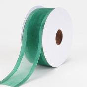 Hunter Green Organza Ribbon Two Striped Satin Edge 2.5cm - 1.3cm 25 Yards