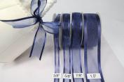 Navy Blue Organza Ribbon with Satin Edge-25 Yards X 1.6cm