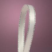 White Satin Ribbon with Silver Border, 0.6cm X 50Yd