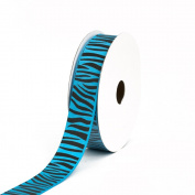 Creative Ideas Grosgrain Zebra Print Ribbon, 2.2cm , Turquoise/Black