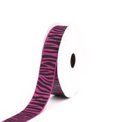 Creative Ideas Grosgrain Zebra Print Ribbon, 2.2cm , Fuchsia/Black