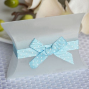 Self Adhesive Grosgrain Bow and Ribbon - Light Blue w/ White Polka Dots