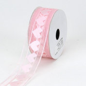 Light Pink Organza Heart Ribbon 2.5cm - 1.3cm 10 Yards
