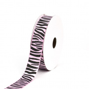 Creative Ideas Grosgrain Zebra Print Ribbon, 2.2cm , Light Pink/Black