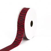 Creative Ideas Grosgrain Zebra Print Ribbon, 2.2cm , Red/Black