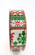Jo-ann's Holiday Inspirations Snowflakes Ribbon,red/green Snowflakes,stripes,2.2cm x 9ft.