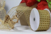 Gold Honeycomb Wired Christmas Ribbon - 6.4cm X 10yd.