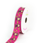 LUV RIBBONS Monkey with Bananas Print Ribbon by Creative Ideas, 2.2cm , Hot Pink