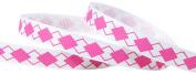 Hip Girl Boutique 5yd 1cm Argyle Ribbon-Grosgrain --White/Hot Pink