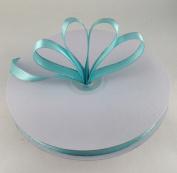 1cm Aqua with Silver Edge Satin Ribbon 50 Yards Spool Single Faced Polyester