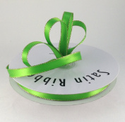 1cm Apple Green with Gold Edge Satin Ribbon 50 Yards Spool Single Faced Polyester