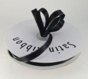 1cm Black Satin Ribbon with Gold Edge 50 Yard Spool 100% Polyester Single Faced