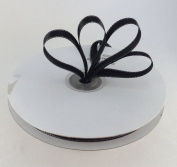 1cm Black with Silver Edge Satin Ribbon 50 Yards Spool Single Faced Polyester