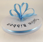 1cm Blue Mist with Silver Edge Satin Ribbon 50 Yards Spool Single Faced Polyester