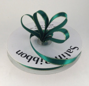 1cm Hunter Green Satin Ribbon with Gold Edge 50 Yard Spool 100% Polyester Single Faced