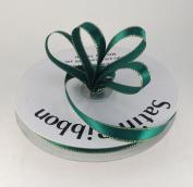 1cm Hunter Green Satin Ribbon with Gold Edge 50 Yard Spool 100% Polyester Single Faced