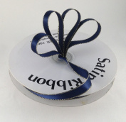 1cm Navy Blue with Gold Edge Satin Ribbon 50 Yards Spool Single Faced Polyester