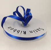 1cm Royal Blue Satin Ribbon with Gold Edge 50 Yard Spool 100% Polyester Single Faced