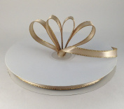 1cm Toffee Satin Ribbon with Gold Edge 50 Yard Spool 100% Polyester Single Faced