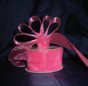 Sheer Organza Ribbon Mono Edge - 3.8cm - 25 Yards (75 FT) - Hot Pink