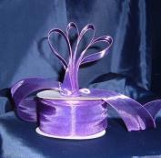Sheer Organza Ribbon Mono Edge - 3.8cm - 25 Yards (75 FT) - Purple