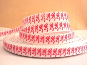 5 yards 3/8 BROWNING Pink and White Grosgrain Ribbon